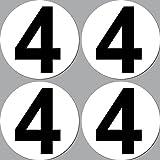 4 Stück Aufkleber Sticker Nummer 4 Startnummer 10cm...