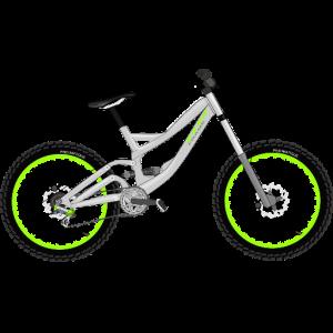 Ein in weiß gehaltenes Faltrad, mit neongrünen Zügen.